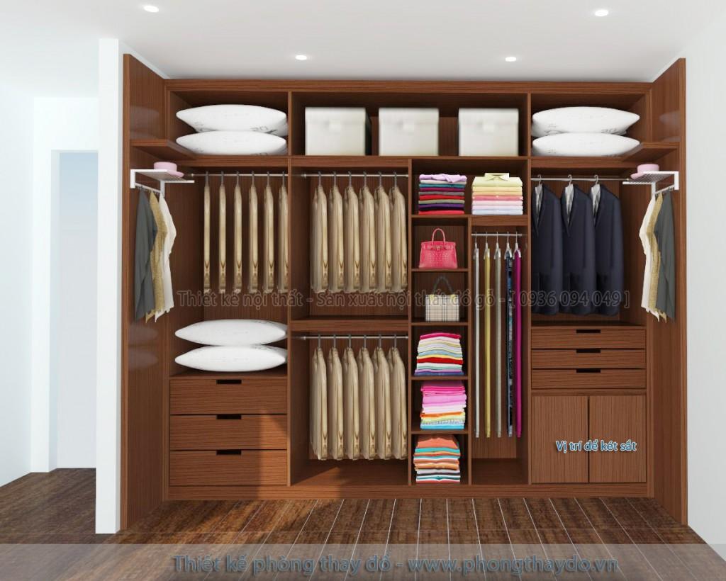 Kích thước tủ quần áo đẹp phù hợp với phòng thay đồ