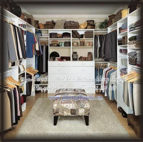 Mẫu thiết kế tủ đơn giản cho phòng thay đồ gọn gàng