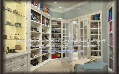 Thiết kế tủ để giày trong phòng lưu trữ quần áo