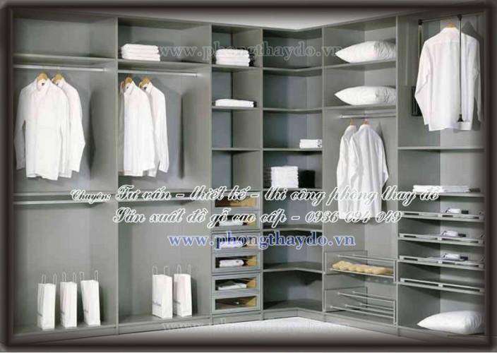Thiết kế mẫu tủ chữ L cho phòng thay đồ