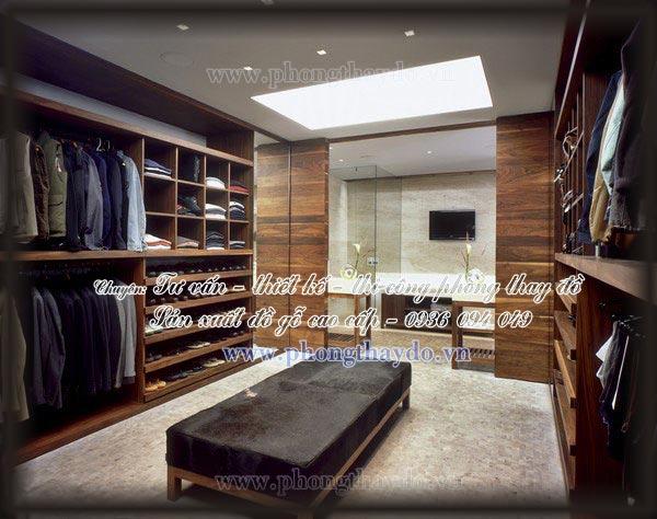 Thiết kế hai tủ áo đối xứng của phòng thay đồ