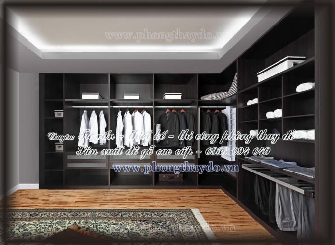 Mẫu thiết kế tủ màu tối trong phòng thay đồ dành cho quý ông