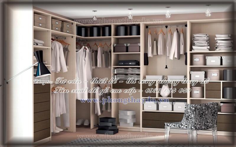 Mẫu TỦ ÁO CHỮ L cho phòng lưu trữ quần áo