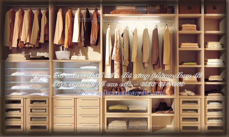 Tủ quần áo chia nhiều ngăn đổ để đồ