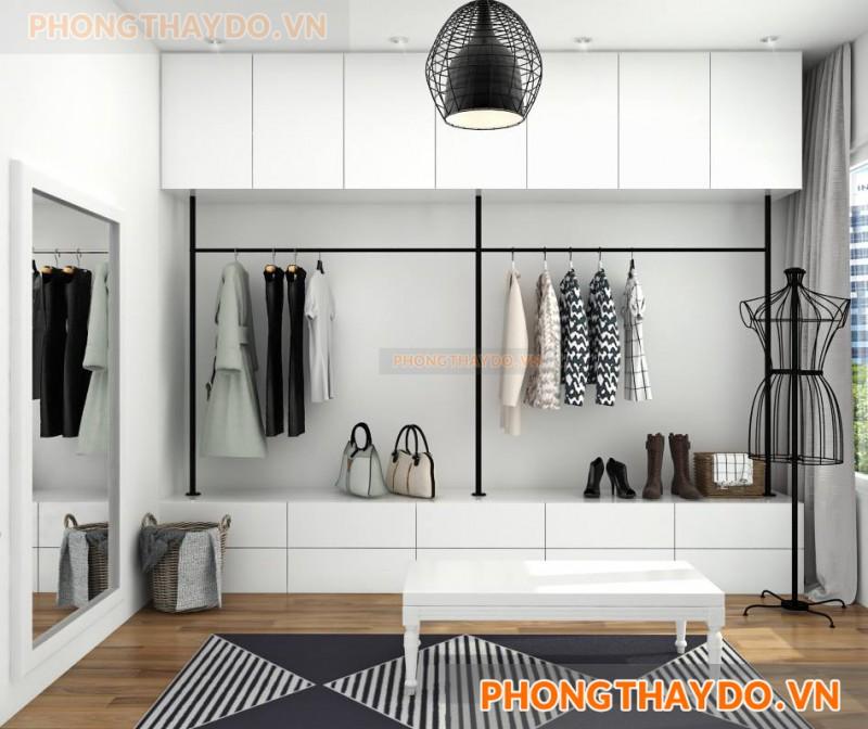 Mẫu thiết kế phòng thay đồ với hệ tủ quần áo đơn giản