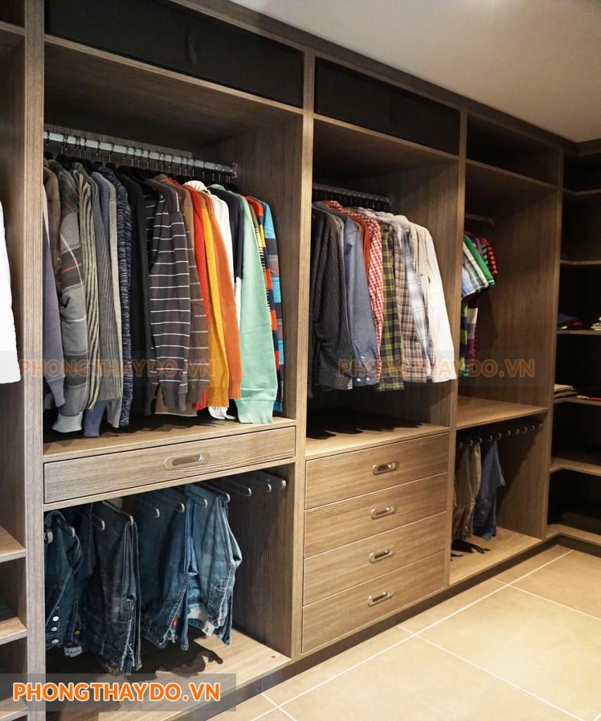 Phòng thay đồ đẹp gỗ công nghiệp cao cấp