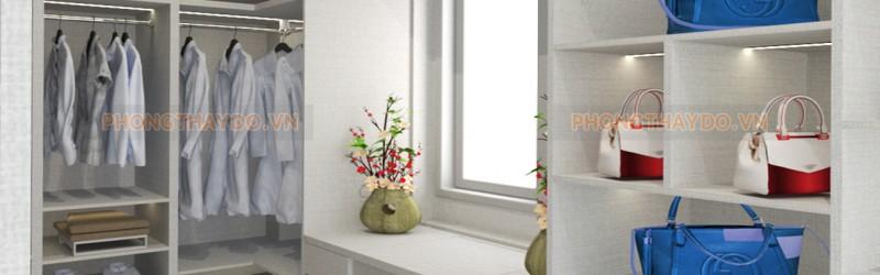 Bàn trang điểm phòng thay đồ có cửa sổ