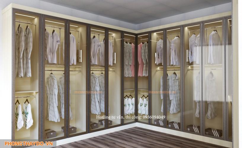Mẫu phòng thay đồ với hệ tủ quần áo cánh kính