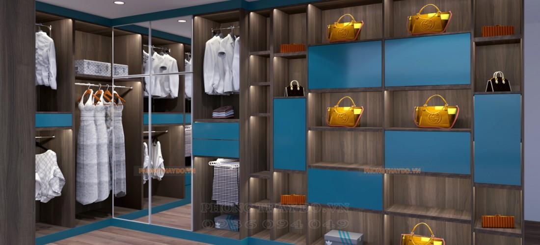 Phòng thay đồ với hệ tủ túi xách trang trí