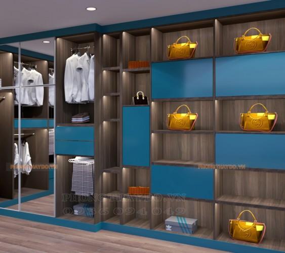 Phòng thay đồ với hệ tủ để túi xách đẹp