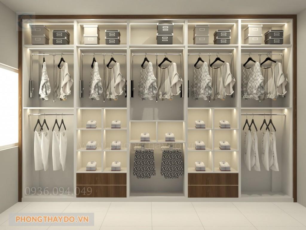 Mẫu phòng thay đồ màu trắng tinh tế