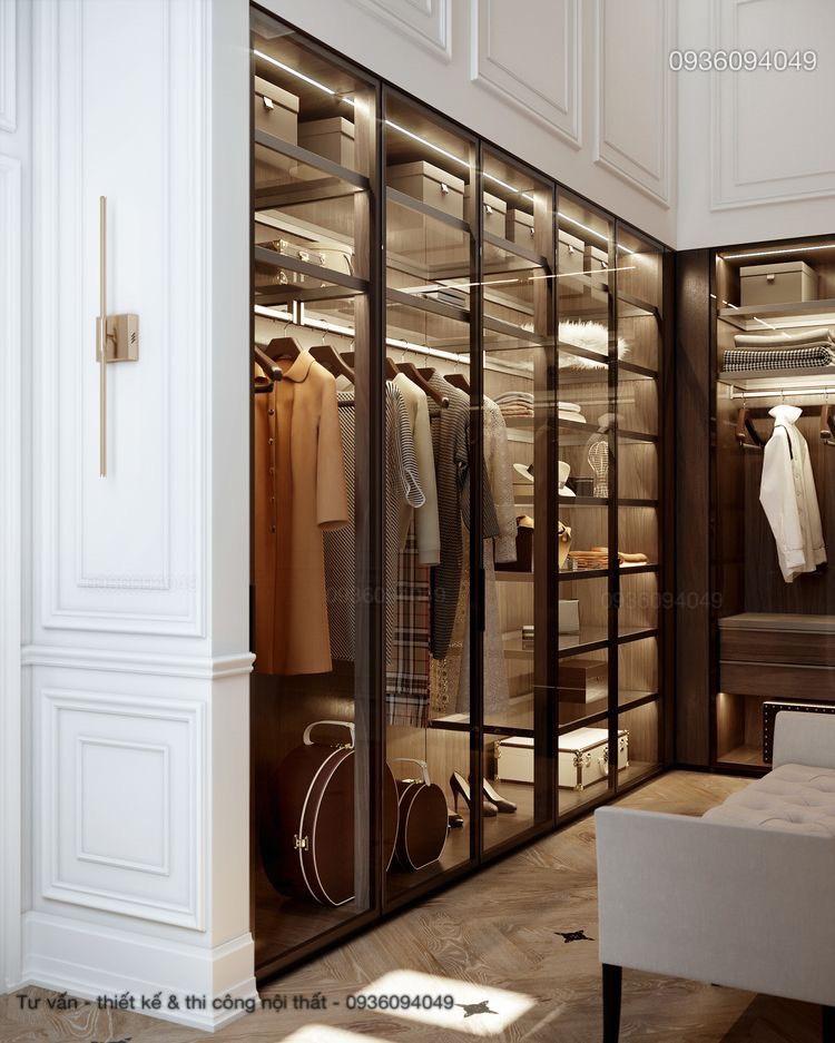 Phòng thay đồ trong phòng ngủ hiện đại